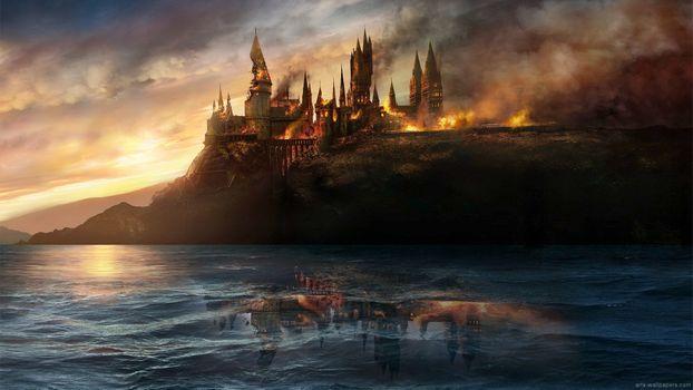 Бесплатные фото Гарри Поттер,Хогвартс,битва в Хогвартсе