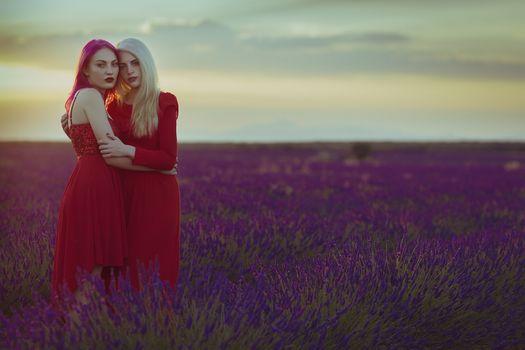 Фото бесплатно модели, поле, красное платье