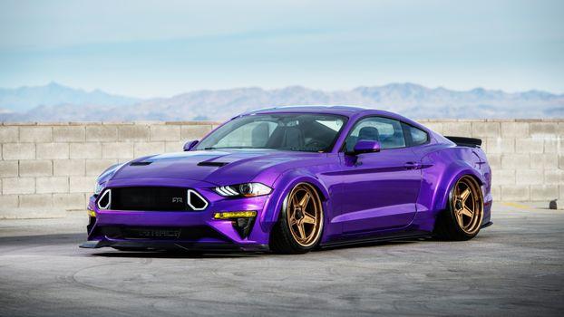 Фото бесплатно Форд Мустанг экобуст, фиолетовый, мускул-кары