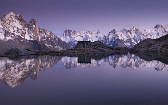Photo free lake, cabin, mountains