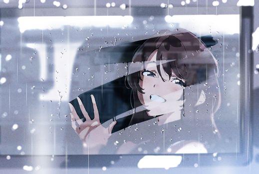 Фото бесплатно дождь, улыбается, аниме девушка