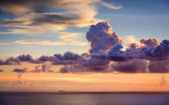 Photo free clouds, vessel, sea