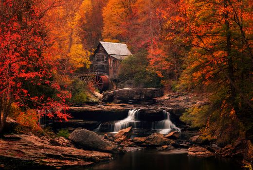 Photo free water mill, rocks, Glade Creek Grist Mill