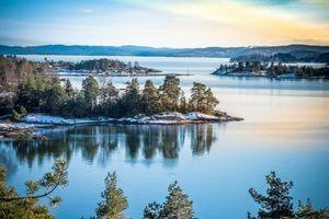 Фото бесплатно Oslo, Norway, Осло, Норвегия, закат, море, побережье, скалистый берег, деревья, пейзаж