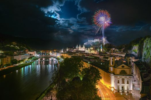 Заставки фейерверки, Salzburg, луна