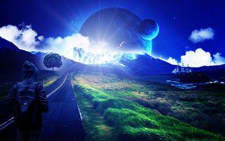 Обои дорога, свечение, планеты, корабль, art