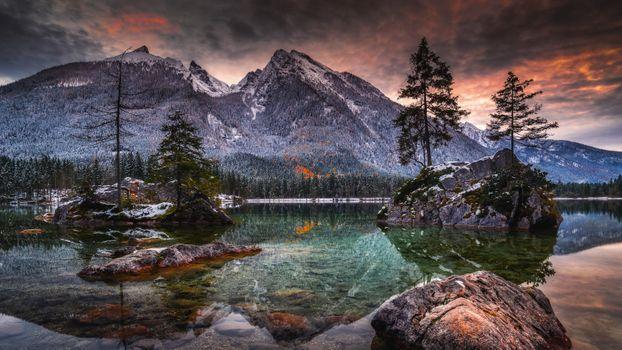 Заставки озеро, закат, southern Germany