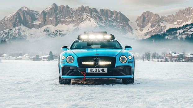 Photo free snow, mountains, Bentley Continental GT