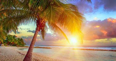 Красивая заставка закат, пляж