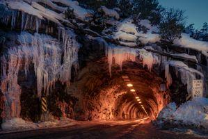 Бесплатные фото Йосемитский национальный парк, туннельный, городской, туннель, сумерки, свет, зима