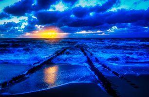 Фото бесплатно побережье, облака, закат