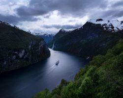 Бесплатные фото Geirangerfjord, Норвегия, фьорд, Geirainger Гейрангер, Круиз, закат, река