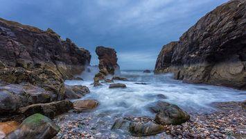 Бесплатные фото Шотландия, море, скалы, волны, камни, берег, пейзаж