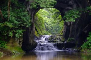 Бесплатные фото река, лес, деревья, скала, арка, Водопад, Komizo