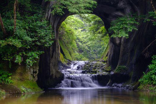 Photo free Komizo, waterfall, forest