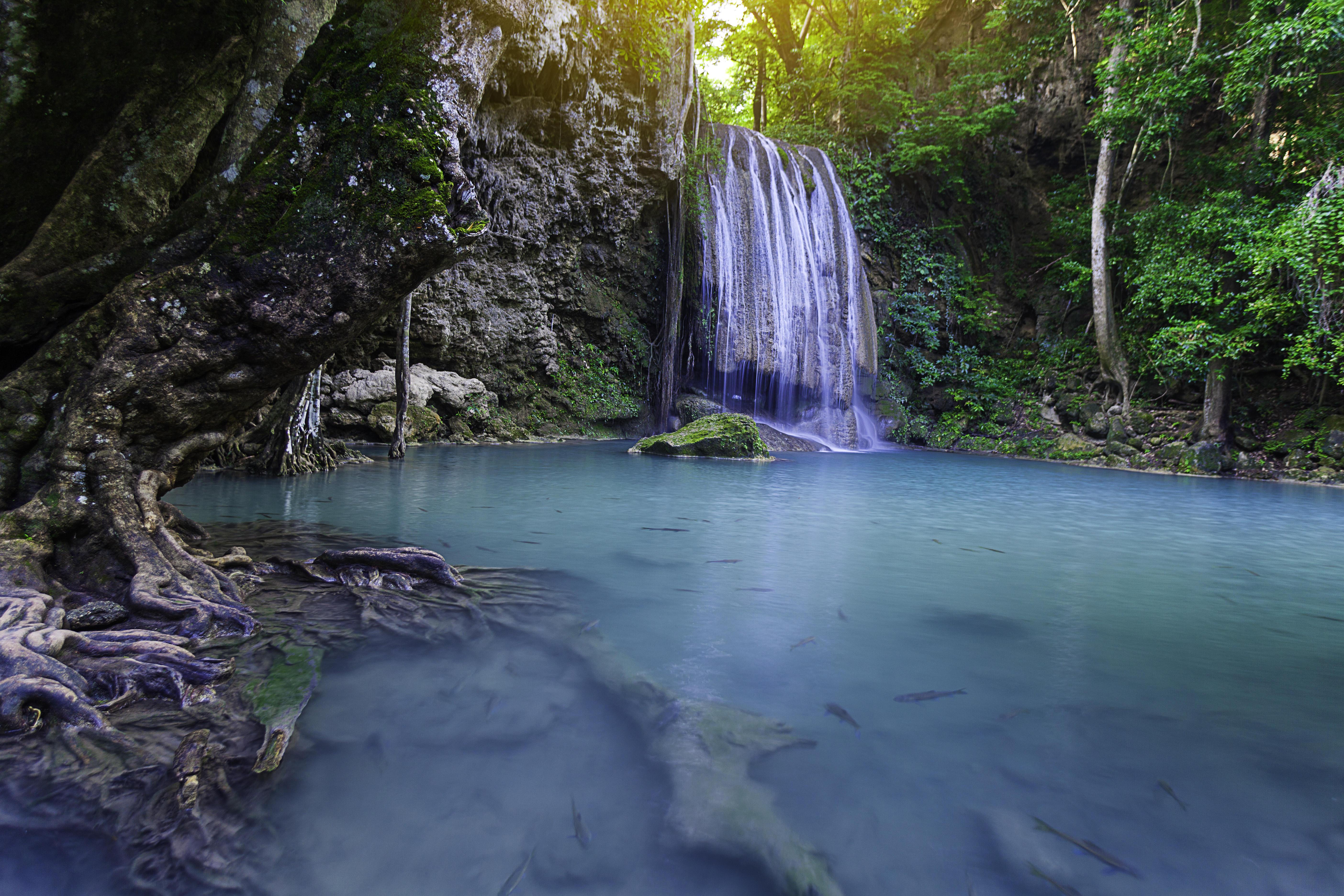 Обои Erawan Waterfall, Thailand, Таиланд, Канчанабури