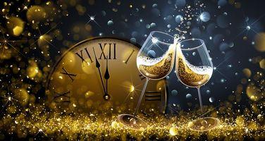Фото бесплатно дизайн, новогодние обои, часы