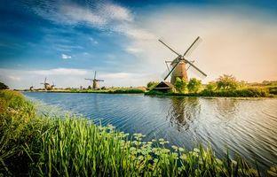 Фото бесплатно Нидерланды, Kinderdijk, водоём