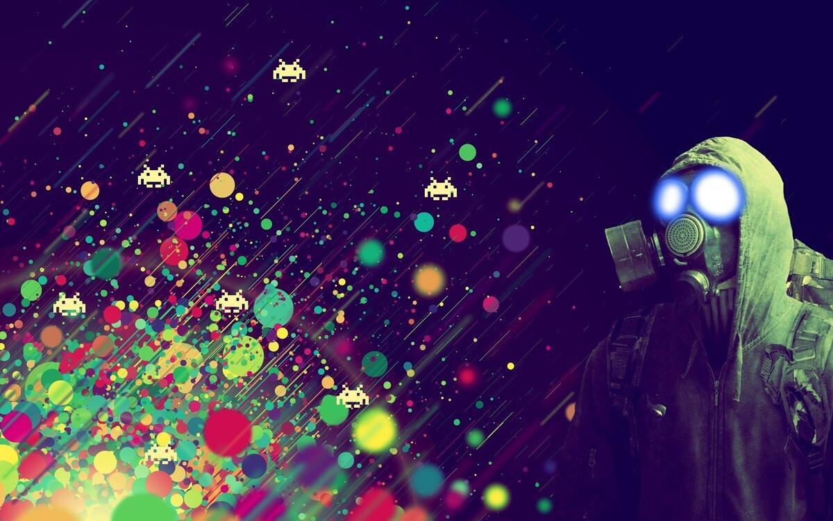 Фото противогаз цвета космические захватчики - бесплатные картинки на Fonwall