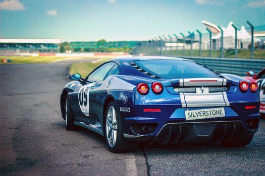 Photo free sports car, side view, blue