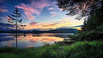 Заставки Storavatnet, Norway, закат, озеро, деревья, пейзаж