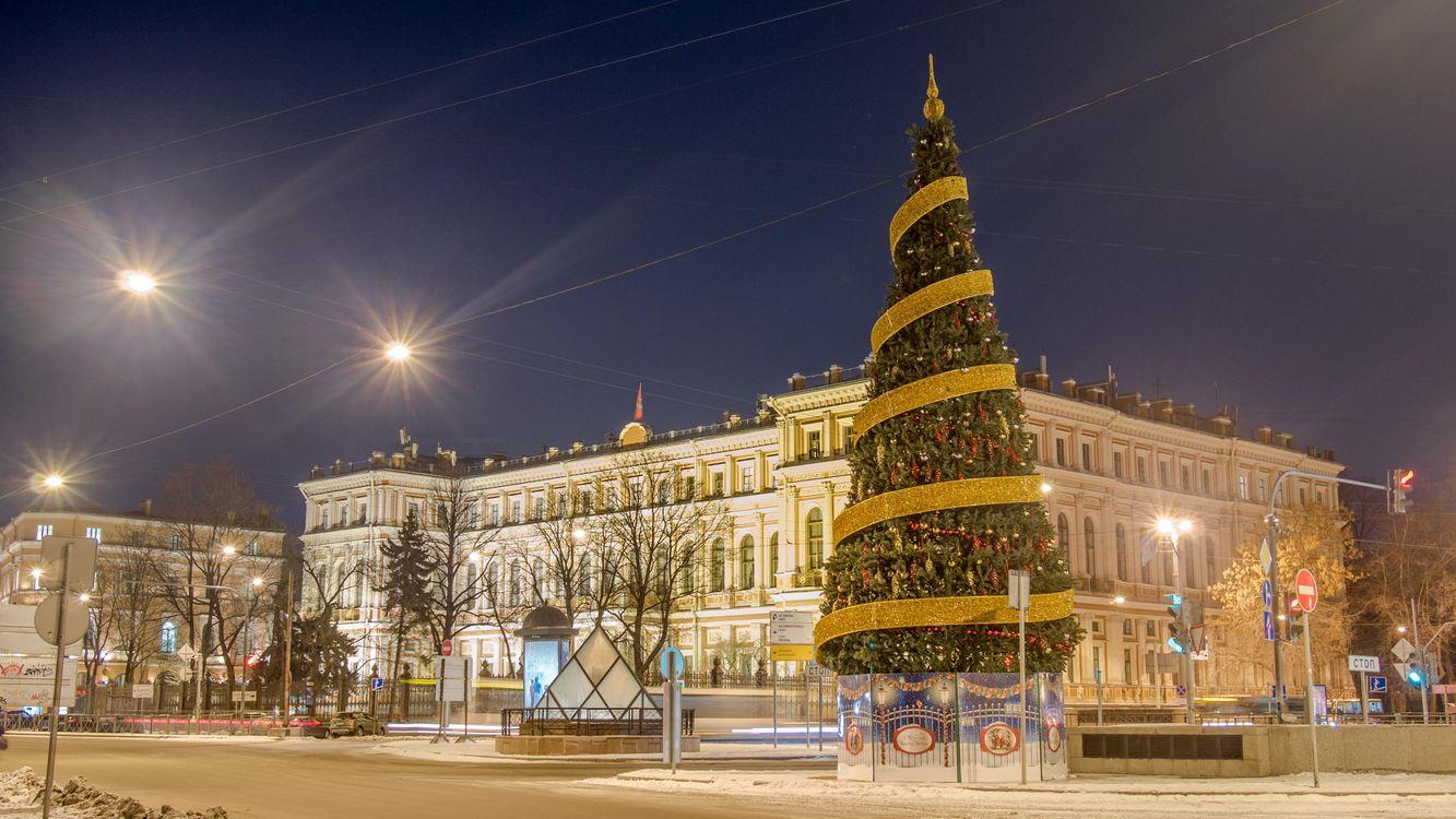 Фото бесплатно Николаевский Дворец Санкт-Петербург, елка, новогодняя елка, освещение, гирлянды, новый год, город - скачать на рабочий стол