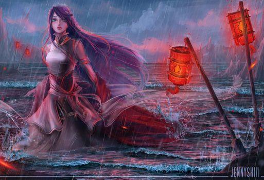Фото бесплатно фантазии женщины, океан, волны