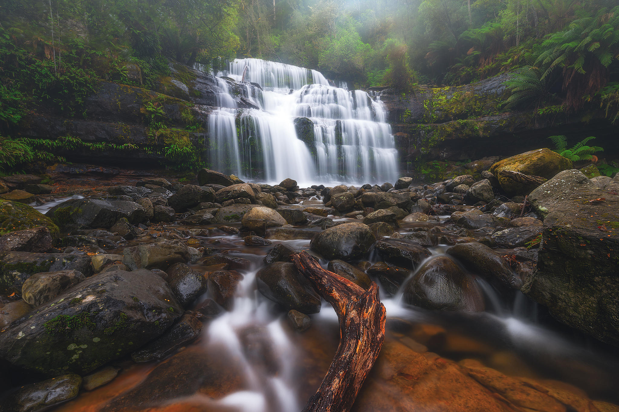 Liffey Falls, Tasmania, Австралия, водопад, река, лес, деревья, камни, скалы, туман, пейзаж