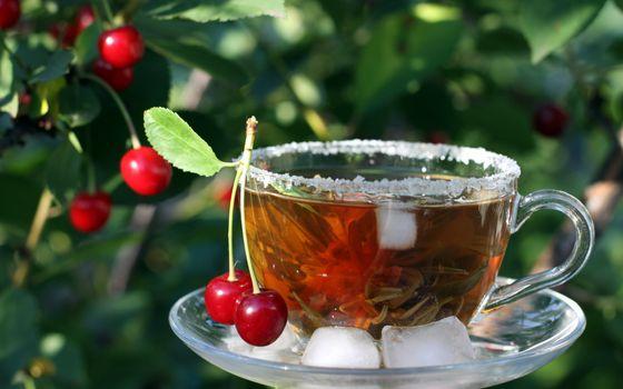 Фото бесплатно чай, вишня, лед