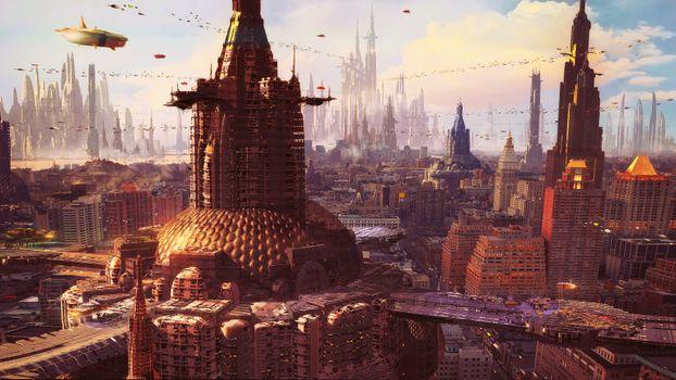 Заставки искусство, футуристический город, научная фантастика
