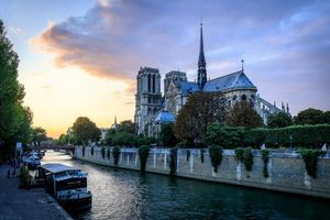 Заставки Paris, France, Notre Dame, Париж, Франция, Нотр-Дам, закат