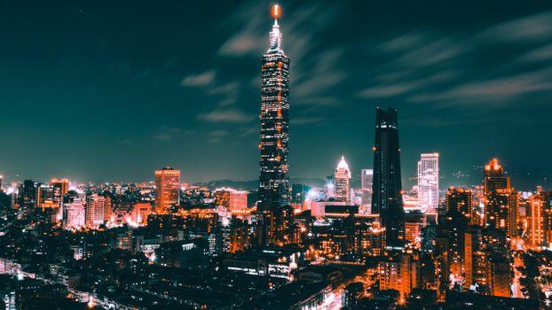 Заставки тайвай Тайбэй, небоскреб, ночь
