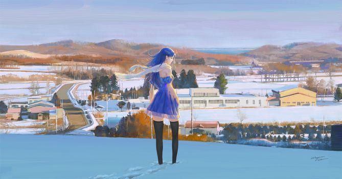 Заставки девушка, аниме, снег