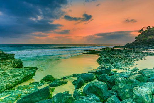 Photo free sunset, sea, rocks