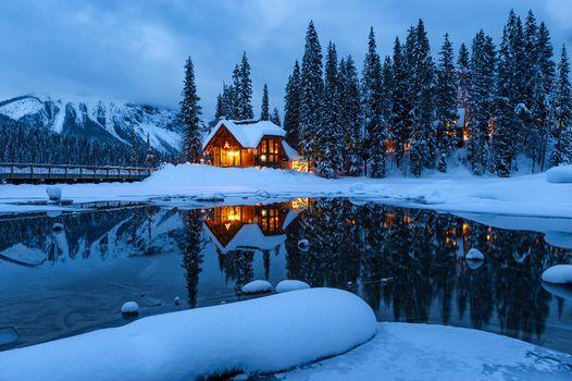 Photo free Emerald lake, landscape, sunset