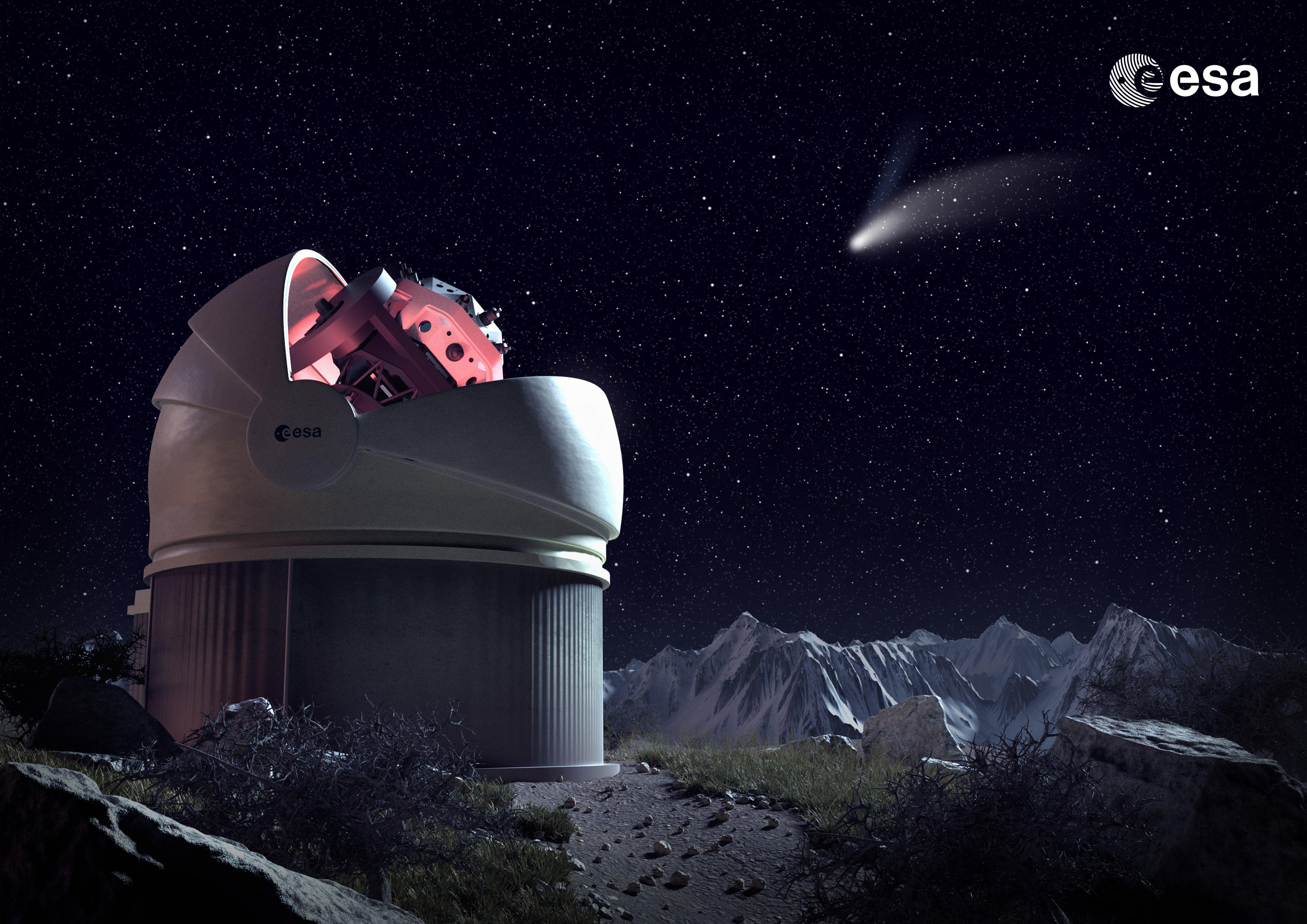 обсерватория, телескоп, наука, техника, космос, ночь, звёзды, комета, графика