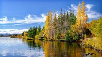 Бесплатные фото озеро,осень,лес,домик,деревья,природа,пейзаж