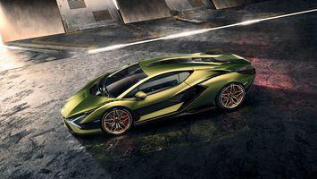 Photo free Lamborghini Sian, green car, coupe