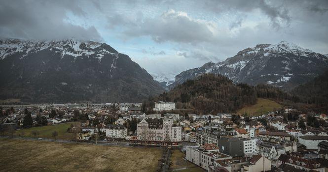 Заставки альпы, горы, здания