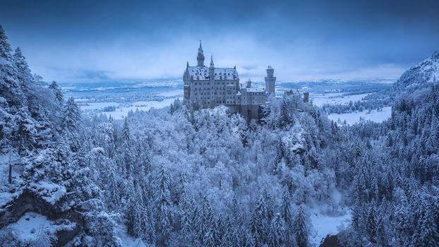 Photo free Neuschwanstein castle, landscape, Hohenschwangau