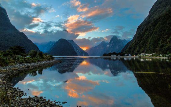 Фото бесплатно Новая Зеландия, бухта Милфорд, отражение