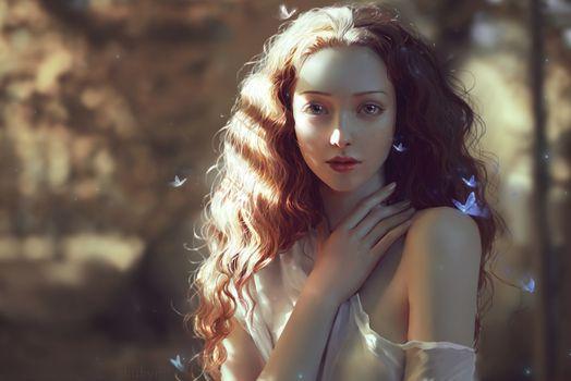 Фото бесплатно девушки, цифровое искусство, ангел
