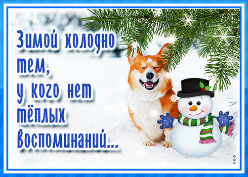 Postcard free dog, snow, snowman