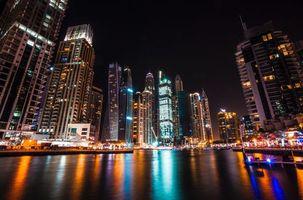 Бесплатные фото Дубай, Объединенные арабские эмираты, небоскребы, ночь, dubai, united arab emirates, skyscrapers
