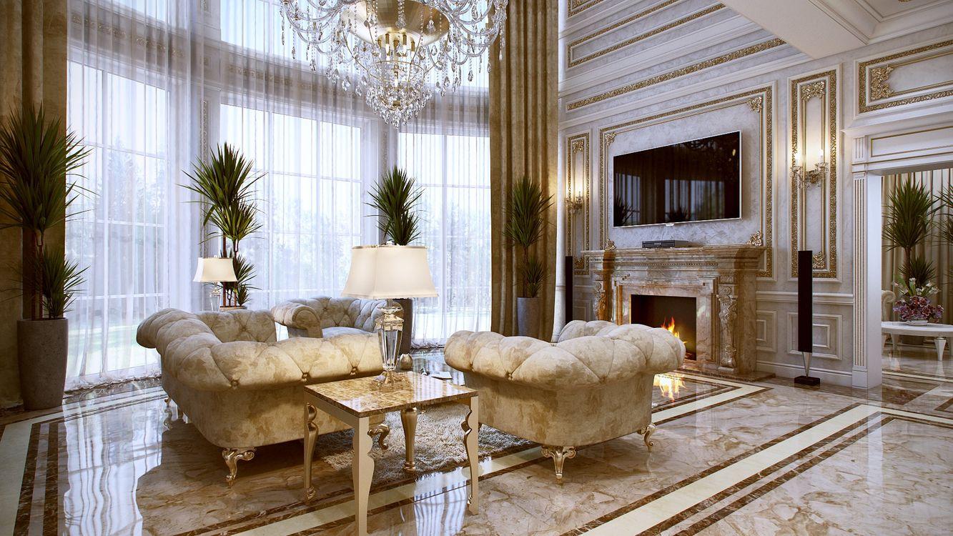 Фото бесплатно комната, диван, люстра, столик, гостиная, плазма, кресла, камин, интерьер