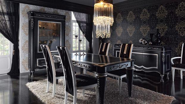 Фото бесплатно столовая, вилла, стулья