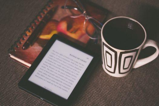 Photo free notebook, coffee, glass