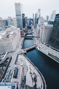 Бесплатные фото Чикаго,США,небоскребы,мосты,вид сверху,chicago,united states,skyscrapers,bridges,view from above