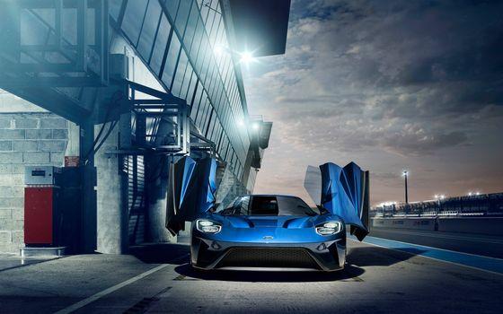 Заставки Форд ГТ, синий, вид спереди