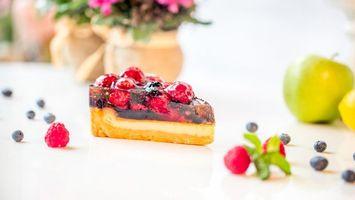 Фото бесплатно tort, zhele, iagody, iabloko, desert